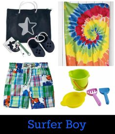 Beach fashions for boys-from tie-dye to preppy.