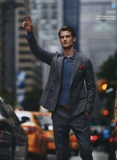 garrett neff cab hail in a double breasted windowpane suit