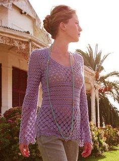 Purple Long Sleeve Top free crochet graph pattern