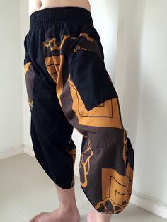 Samurai Pants unisex Elastic Waist Size M/L by IndycraftsDesigns