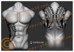Mixed forearm and chestplate tattoo in Polynesian style flash