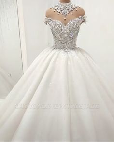 Luxurious Crystal High-Neck Ball Gown Wedding Dresses 2019 Tulle Bridal Gowns On Sale Item Code: Luxury Wedding Dress, Perfect Wedding Dress, Dream Wedding Dresses, Wedding Gowns, High Neck Wedding Dresses, Wedding Dresses With Bling, Lace Wedding, Crystal Wedding, Wedding Shoes