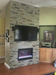 DIY Fireplace w/stack stone