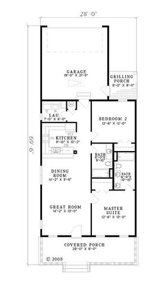 Southern Style House Plan - 2 Beds 2 Baths 1120 Sq/Ft Plan #17-554 Floor Plan - Main Floor Plan - Houseplans.com