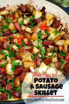 Oven Roasted Potato and Sausage Skillet   heatherlikesfood.com