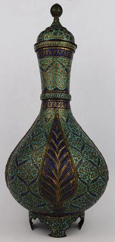 Kashmir Minakari brass and enamel bottle circa 1850
