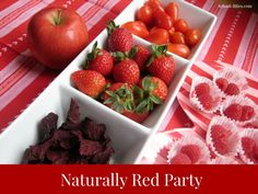 Fun idea for the #school #Valentine party: 100% percent natural red food tasting party. Strawberries, raspberries, apples, beet chips, cranberries, tomatoes & more!