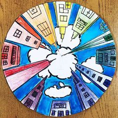 "6th Grade ""Perspective City Color Wheels"" #elementaryart #elementaryartteacher #arteducation #artteachersofinstagram… Color Wheel Projects, Color Wheel Lesson, Color Wheel Art, 6th Grade Art, Art Basics, Perspective Art, Ecole Art, School Art Projects, Middle School Art"
