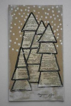 Love the look of these Christmas trees as a winter art project! Christmas Tree Art, Christmas Arts And Crafts, Christmas Projects, Winter Christmas, Holiday Crafts, Christmas Time, Newspaper Art, Winter Art Projects, Theme Noel