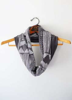 Going Hunting - print modern jersey hand printed circle cowl scarf - by Bark Decor