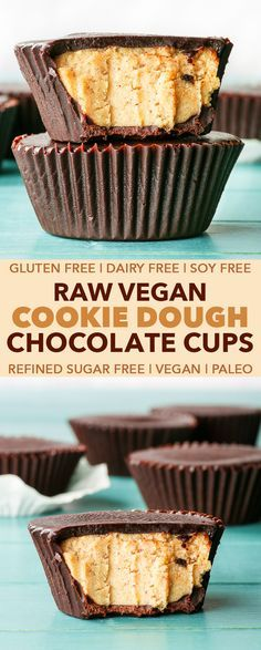 Raw Vegan Cookie Dough Chocolate Cups {gluten, dairy, egg, soy & refined sugar free, vegan, paleo} - These incredibly decadent raw vegan cookie dough chocolate cups are super easy to make, and are simply to die for. The homemade chocolate melts the moment it hits your tongue, and the raw vegan cookie dough filling is just the right amount of sweet, dense and fudgy. It really tastes like real cookie dough! This raw vegan dessert is gluten, dairy, egg, soy and refined sugar free, but you'd nev