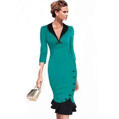 Mermaid Button Autumn 3/4 Sleeve red New Vintage dress  bodycon office Wiggle Midi dress #MissNicole