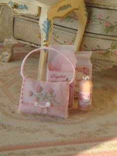 Dollhouse embroidery handbag. 1:12 Miniature by ANABELAMINIATURES
