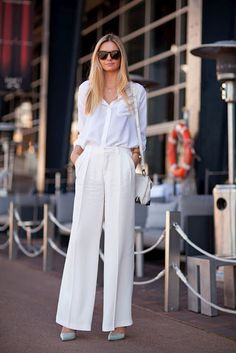 All white, with mint shoes