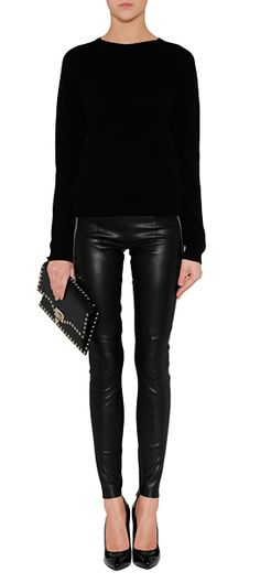 Black Cashmere Pullover - Jil Sander Black Leather Pants with Zips - Jitrois Black Leather Rockstud Clutch - Valentino Black/Gold Leather Pumps - Giuseppe Zanotti Mode Outfits, Fashion Outfits, Womens Fashion, Fall Winter Outfits, Autumn Winter Fashion, Mode Style, Style Me, Leather Leggings Outfit, Leggings Fashion