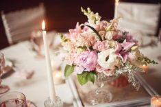 Absolutely in love with this centerpiece + table setting...so classic and romantic! Peonies, astilbe, ranunculus, spray roses, snapdragons, hydrangea, lisianthus, and garden roses, with foliage of lamb's ear, variegated pittosporum, and dusty miller.