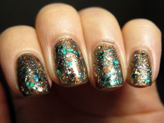 OPI Warm & Fozzie, Spoiled: Jewelry Heist (the bronzey glitters) & Essence: Edward (green glitter)