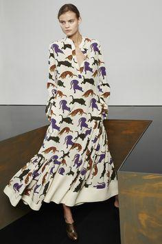 Cream Wild Cats Print Agnes Dress and Gold-Black Alter Nappa Vanessa Mule.