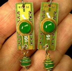 Jewelry made from computer circuit board. Cool!