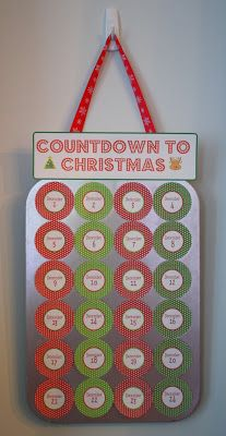 CRAFTASTIC: The Lazy Mom's DIY Advent Calendar - another version of the muffin tin advent calendar