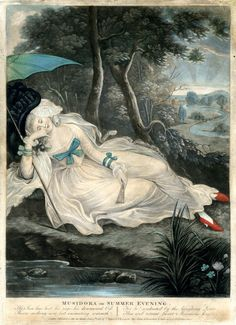 Musidora or Summer Evening  2010,7081.3041   A young woman lying asleep on a grass bank beside a pool, reclining to left, a fan in one hand and an umbrella in the crook of her arm; landscape with a winding river in the background; illustration from Thomson's 'Seasons'. 1784 Hand-coloured mezzotint with some etching  © The Trustees of the British Museum