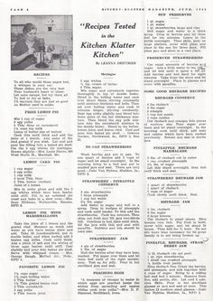 Kitchen Klatter Magazine, June 1940 - Prize Lemon Pie, Lemon Cake Pie, Lemon Pie, Meringue, To Can Strawberries, Strawberry Conserve and Jam, Poachiong Eggs, Sun Preserves, Rhubarb Recipes