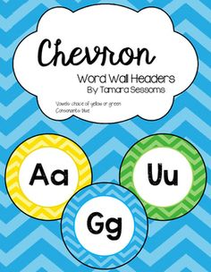 This download includes circular (5 inch diameter) chevron word wall letter (A to Z) headers. All consonants are blue however I have included two color choices for vowels. You may chose from yellow or green.