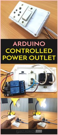 Arduino Controlled Power Outlet Electronics Hub - In This Project We Have Used Arduino To Control A Power Outlet So That It Can Be Controlled With The Help Of A Sensor Or Remote Switch We Have Designed A Power Outlet Box With One Plug And A Switch Hobby Electronics, Electronics Projects, Arduino R3, Arduino Controller, Home Automation Project, Cnc Software, Programming Tutorial, Arduino Projects, Computer Technology