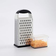 The OXO Good Grips Box Grater does the work of a slicer and three graters in one compact tool that fits conveniently in any drawer. Slimming Eats, Slimming World Recipes, Cutting Board Storage, Cheese Twists, Essential Kitchen Tools, Cheese Grater, Good Grips, Kitchen Gadgets, Kitchen Items