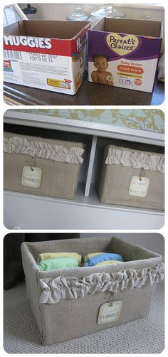 Transform an ugly cardboard box into a useful and elegant burlap storage option. just take diapers out of the box and cover and now you have a fancy box rather than a diaper box