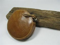 Brown Round Coin bag / Hamberger  Leather coin purse by ASTAPIE, $13.00