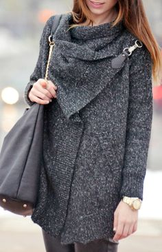 Black Lapel Long Sleeve Ouch Cardigan Sweater from Sheinside