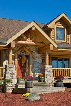 Log Home Photos Log Home Exteriors › Expedition Log Homes, LLC New entryway Log Homes Exterior, Stone Exterior, Exterior Paint, Log Home Living, Living Room, Log Home Decorating, House Design Photos, Log Cabin Homes, Log Cabins