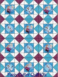 Frozen Elsa Olaf Anna Baby Children Disney Fabric Fast Easy Beginner Pre-Cut Quilt Blocks Top Kit Quilting Squares Patchwork sale