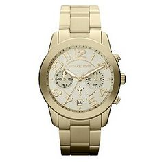 Ernest Jones - Michael Kors ladies' chronograph gold-plated bracelet watch