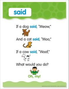 Sight Word - Said: Sight Word Poem and Word Cards