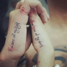 Me and my boy. Couple text tattoo. You see all my light. You love all my dark.