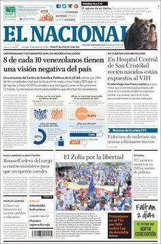 #20160415 #VENEZUELA #VenezuelaPORTADASdePRENSAdeHOY20160415 Viernes 15 ABR 2016 http://en.kiosko.net/ve/2016-04-15/ + #CARACAS #ELNACIONALdiarioCARACAS20160415 http://en.kiosko.net/ve/2016-04-15/np/ve_nacional.html