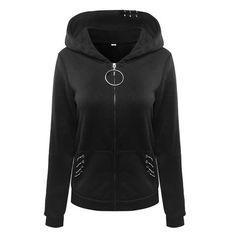 a5535f6e5a0 Gothic Hoodies For Women Iron Rings Decoration Black Loose Hood Sweathirt Long  Sleeve Plus Size Harajuku Punk Female Hoody