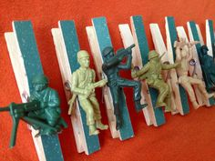 Army Birthday Party Favors - 8 clothespin clips for treat bags, game, prize, decorations, favors Army party via Etsy