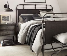 Industrial Style Bedroom With Menswear-Inspired Bedding | from Restoration Hardware | House & Home