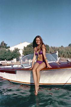 Brigitte Bardot aboard her riva in St. Tropez