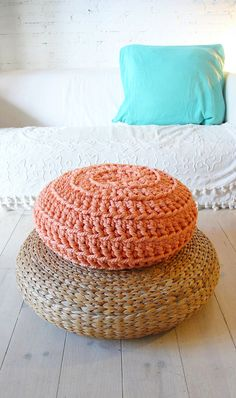Floor Cushion Crochet  Thick Cotton  Peach por lacasadecoto en Etsy, €59.00
