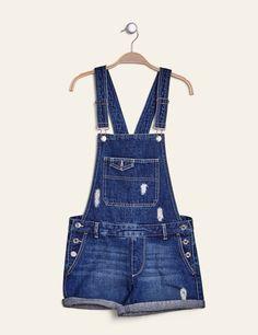 Salopette short en jean medium blue femme • Jennyfer