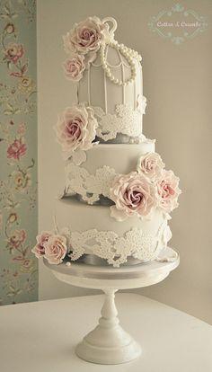 Lace Birdcage wedding cake   Flickr - Photo Sharing!