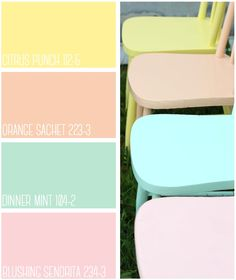 Summer Inspired Painted Furniture from Fynes Designs featuring PPG Voice of Color. What color is your favorite for your summer furniture project? Pastel Furniture, Colorful Furniture, Shabby Chic Furniture, Colorful Decor, Vintage Furniture, Painting Furniture, Classic Furniture, Furniture Projects, Home Furniture