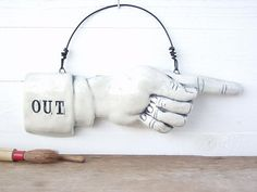 Out. Exit Sign. Ceramic Pointing Finger. Directional Indicator.  Recycled Clay.