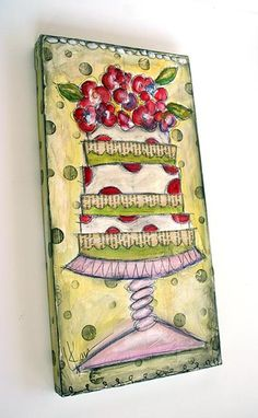 Mixed media art  Use cake from cricut cartridge, 3d flowers on top, background to be small flowers?  perhaps