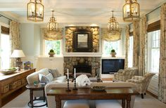 love the console table with basket storage Aqua, white & beige living room - stone fireplace - Gardiner and Larson Homes