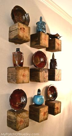 Unique Rustic Decor Projects To Complement Your New Apartment | DIY Ceramic Rustic Wall Decor | #rustic_decor #rustic_kitchen #rustic_home Rustic Walls, Rustic Wall Decor, Wooden Walls, Wooden Blocks, Rustic Industrial Decor, Farmhouse Decor, Rustic Loft, Wooden Cubes, Unique Wall Decor